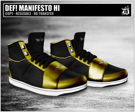 DEF! MANIFESTO/HI/BLACK & GOLD